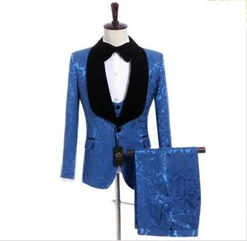 New Arrival One Button Blue Groom Tuxedos Groomsmen Shawl Lapel Mens Suits Blazers (Jacket+Pants+Vest+Tie) W:1246