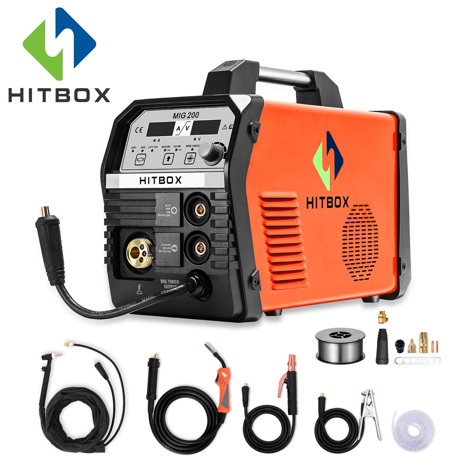 Soldadores MIG HITBOX 200A MIG200A 220 V Máquina de Solda MIG Gás Para Soldagem de Aço Inoxidável E Carbono Com Acessórios