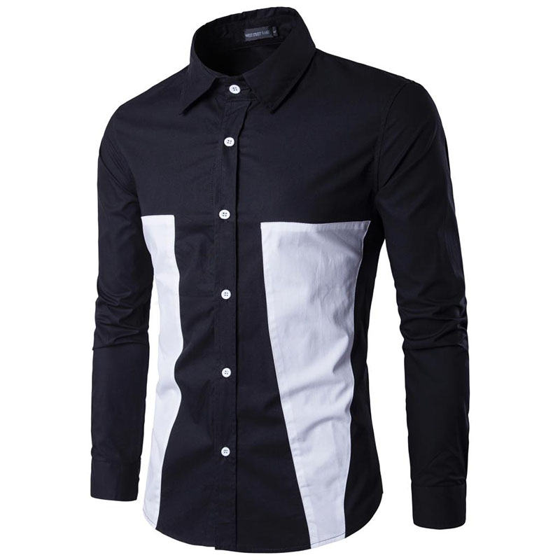 New 2017 Spring summer Long Sleeve Shirt Mens two color patchwork occupation business casual cotton dress fashion shirts M-XXXL