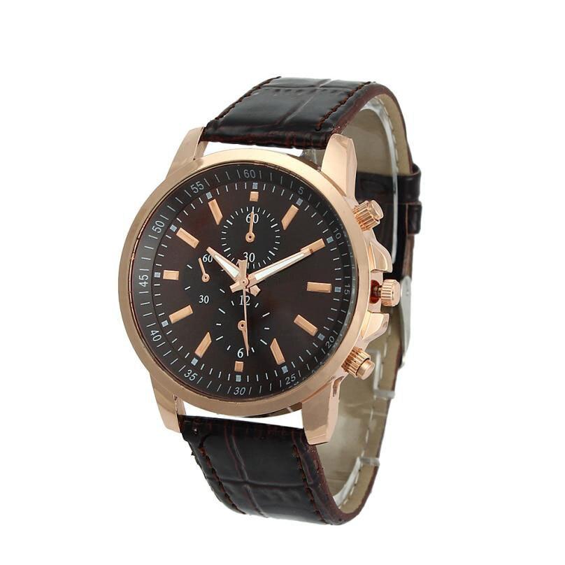 Unisex Business PU Leather Watches Mens Roman Numerals Wrist Watch Men Geneva Analog Quartz Watch Male Clock Reloj Relogio #JO women s business style roman numerals analog pu leather band quartz wrist watch brown 1 x 377