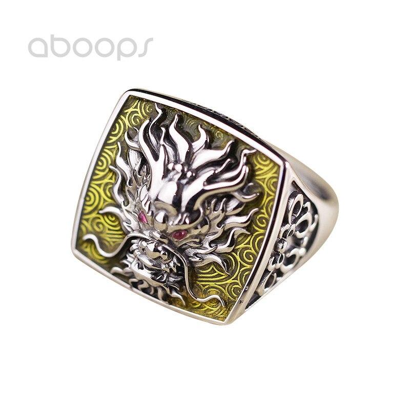 Ethnique 925 en argent Sterling émail Dragon anneau creux pour hommes femmes réglable livraison gratuite