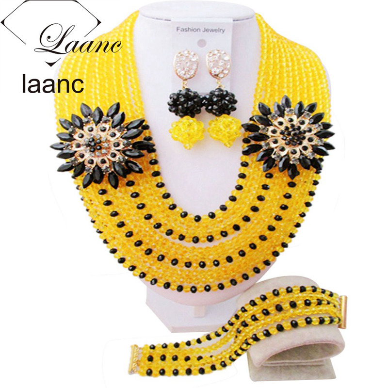Laanc African Beads Wedding Jewelry Set Women Nigerian Bracelet Necklace and Earrings AL565Laanc African Beads Wedding Jewelry Set Women Nigerian Bracelet Necklace and Earrings AL565