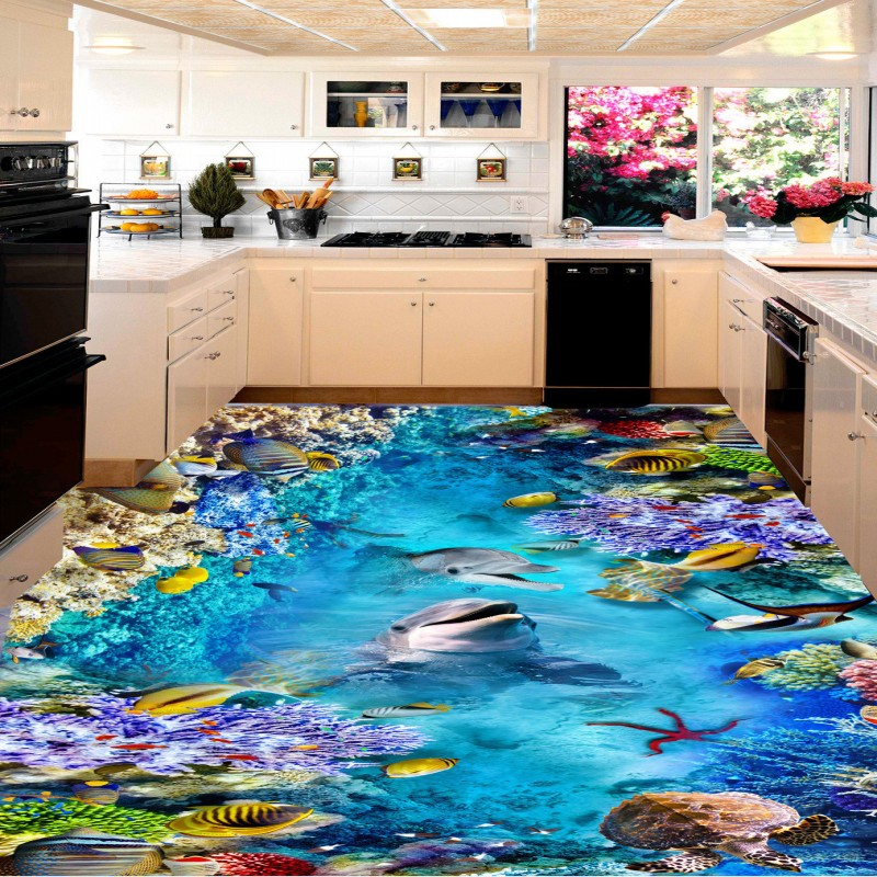 Free shipping Sea World Dolphin Turtle 3D stereo living room kitchen non-slip waterproof high quality floor wallpaper mural free shipping basketball function restaurant background wall waterproof high quality stereo bedroom living room mural wallpaper
