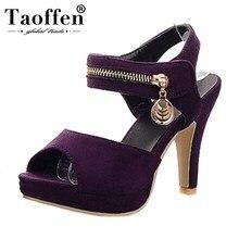 TAOFFEN 2019 New Hook Loop Spike High Heels Zipper Platform Shoes Woman Casual Party Elegant Summer Sandals Big Size 34-43
