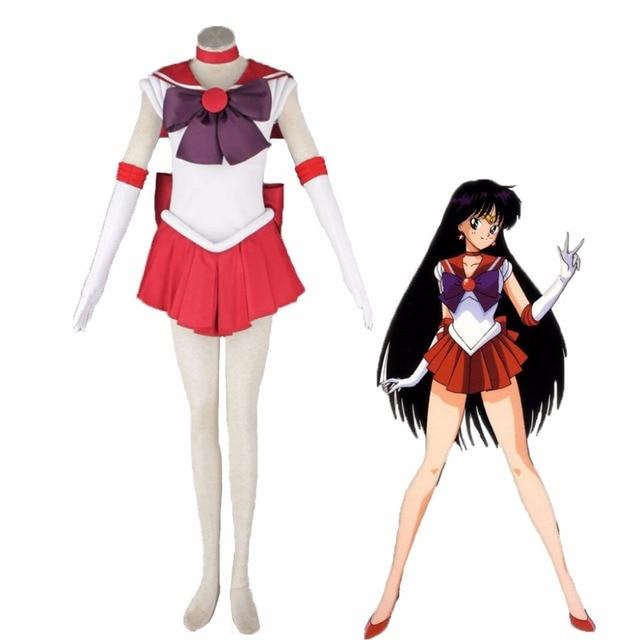 20e5a389d Athemis Anime Sailor Moon Rei Hino   Sailor Mars Cosplay Costume custom  made Dress High Quality