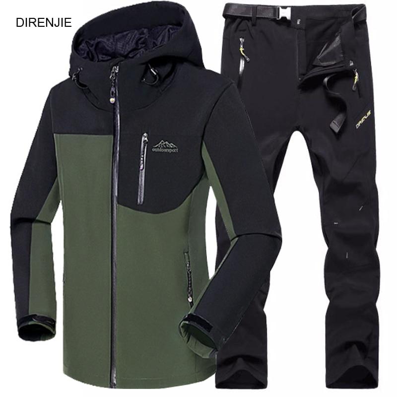 5XL Man Fishing Winter Waterproof Trekking Camping Hiking Climb Fleece SoftShell Outdoor Jacket Pant Sports Jacket+Trouser Suit спортивный костюм демисезонный