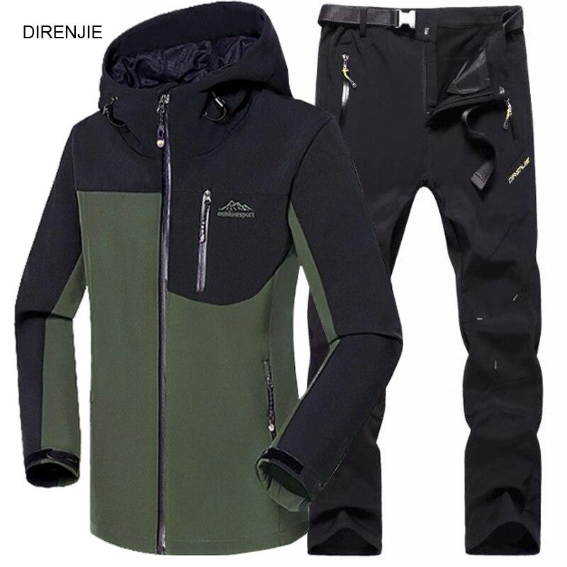 Prix pour DIRENJIE 5XL Homme D'hiver de Pêche Étanche Trekking Camping Randonnée Polaire SoftShell Extérieure Veste Pantalon de Sport Veste + Pantalon S2
