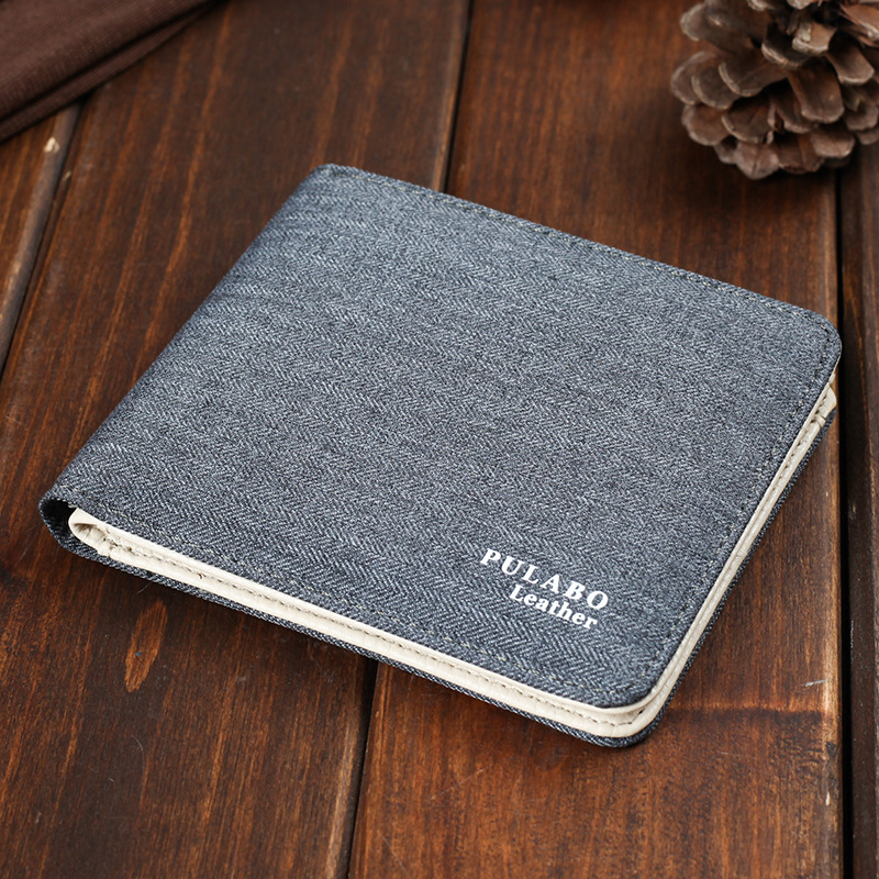 2017 Hot Sälj! Mens Short Denim Fabric Wallet Bästa Soft Canvas - Plånböcker - Foto 3