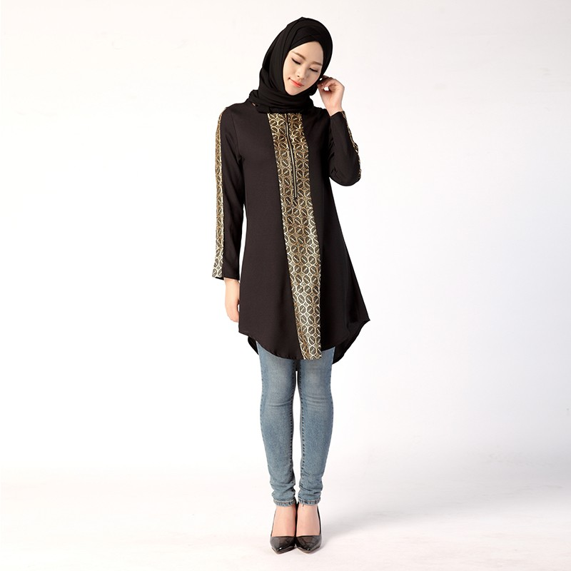 Traditional Bronzing Long Muslim Blouse Turkish Malaysian Indonesia ... d6f55975692e