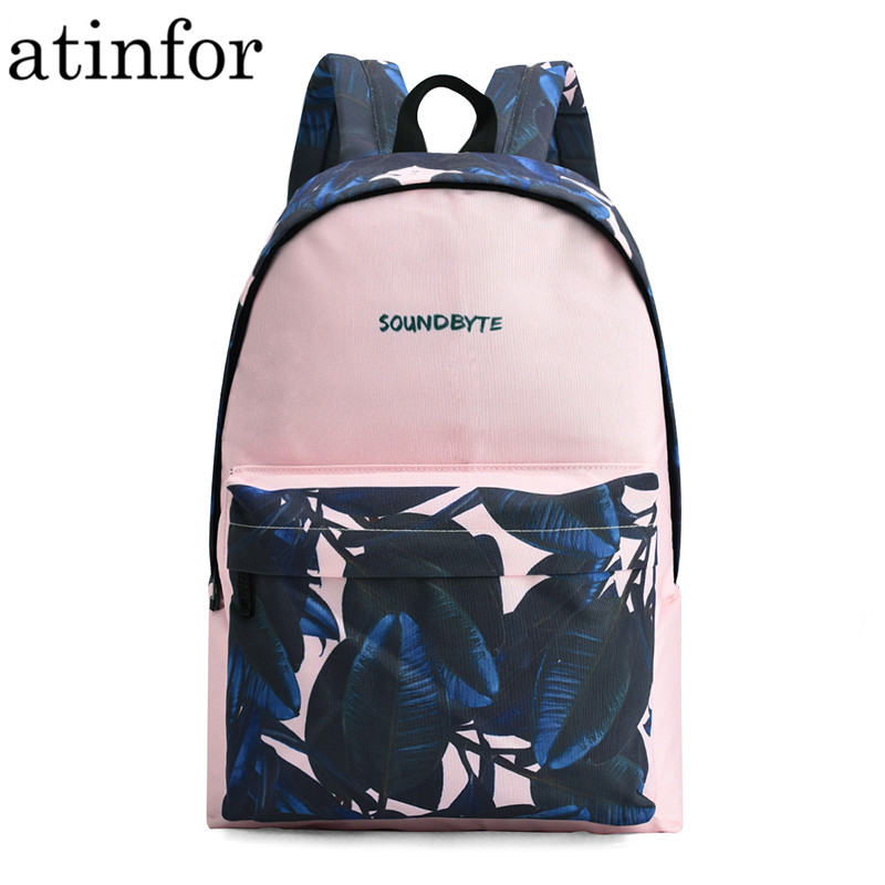 Atinfor 2019 Canvas Backpacks Women Leaf Printing Laptop Bagpack College School Bookbag For Teenage Girls