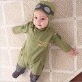 Детские комбинезоны и шапка Airman, одежда для мальчиков, одежда для новорожденных, искусственная зеленая одежда, топы