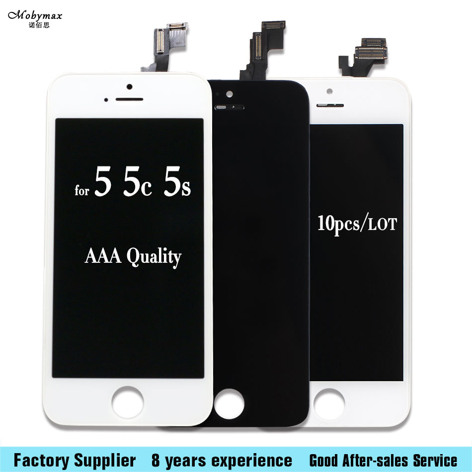 Mobymax 10PCS New No Dead Pixel All Tested AAA Quality Screen For iPhone 5S 5G 5C LCD Test One By One Free Shipping Via DHL