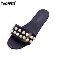 TAOFFEN Fashion Women Flats Slippers Women Beading Open Toe Shoes Summer Vacation Flats Sandals Women Footwears