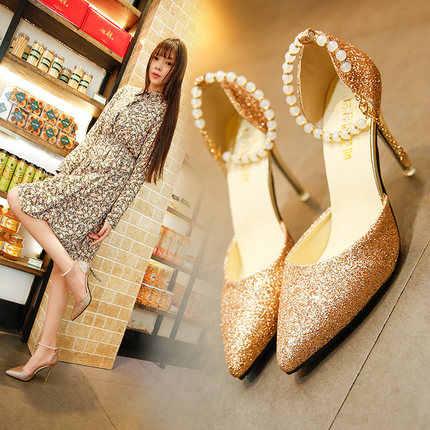 Schuhe frauen 2019 sommer high heel stiletto spitz weibliche sandalen pailletten neue perlen frauen schuhe der frauen
