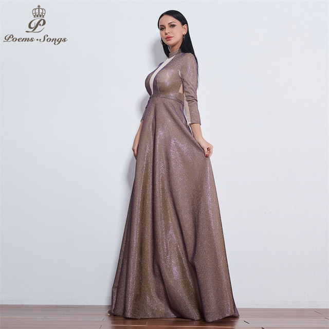 Poems Songs 2019 New style reflective dress beautiful colorful Long sleeve Evening Dress prom gowns  Formal Party dress 4