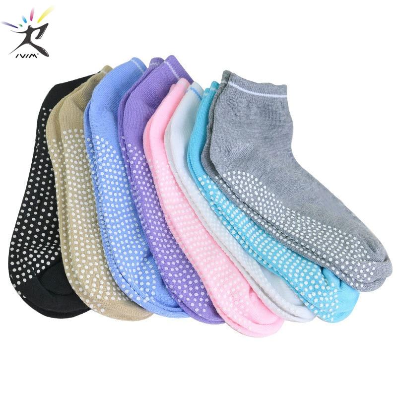 1 Pair Yoga Socks Women Anti Slip Silicone Pilates Ballet Socks Gym Fitness Sport Socks Cotton Breathable Elasticity Socks