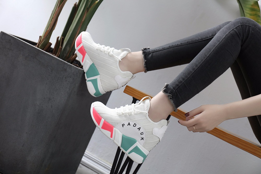High quality women sneakers fly weave shoes women sport shoes thick bottom mesh breathable street shot sports shoes WK67