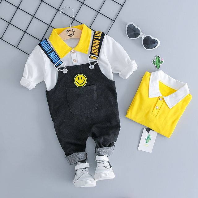 WENWENDEXINGFU Autumn Girl Boy Clothing Sets Baby Clothes Suits Infant Lapel T Shirt Smiley Face Strap Jeans Kid Child Clothes