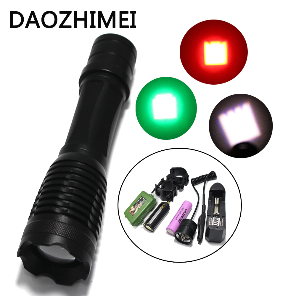 1000 lumens Zoom Red Green 18650 LED Flashlight Hunting Fishing Light ON/OFF Mode With Gun Clip Remote Pressure Switch