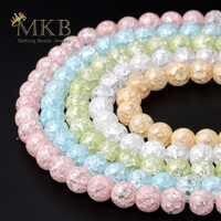 Weiß Geknackt Quarz Natürliche Stein Perlen Perlen Für Jewerly Machen 6 8 10 12mm Kristall Runde Perlen Diy Armband großhandel Perles