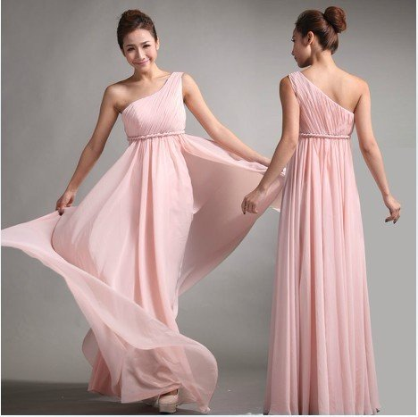 Light Pink Chiffon One Shoulder Empire Prom Evening Dress Bridesmaid Dresses