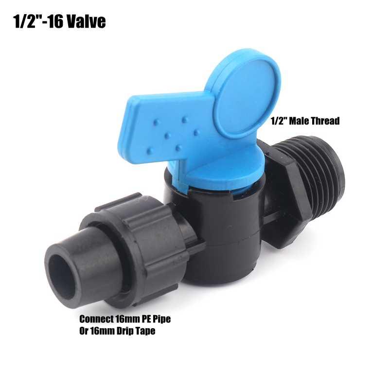 2 шт 16 мм лента для капельного орошения соединители система полива фермы PE Трубная гайка замок шаровой клапан соединения высокое качество трубы переключатель воды