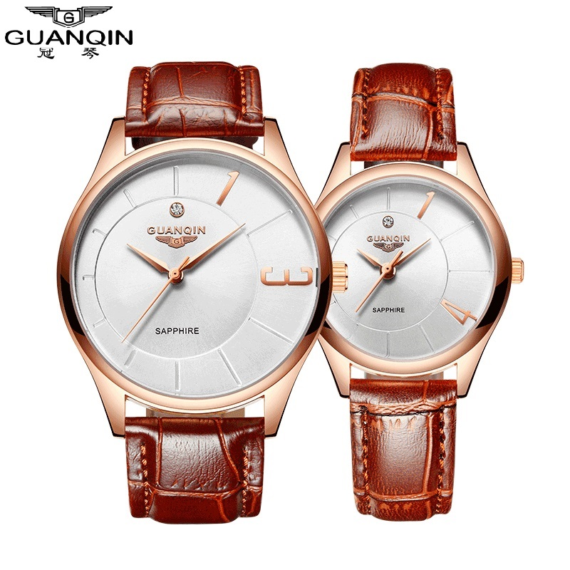 Lovers Watch GUANQIN New Arrival Fashion Lovers Watch Men Women Leather Quartz Stainless Steel Waterproof Men Women Wristwatches new fashion full stainless steel silver web band dress quartz wrist watch wristwatches for men women lovers couple