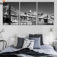 lienzo sin estructura de pared decorativo moderno de 3 piezas con imagen artística impresa en lienzo de escena nocturna en blanco y negro del puente de Brooklyn de Nueva York sin marco F161