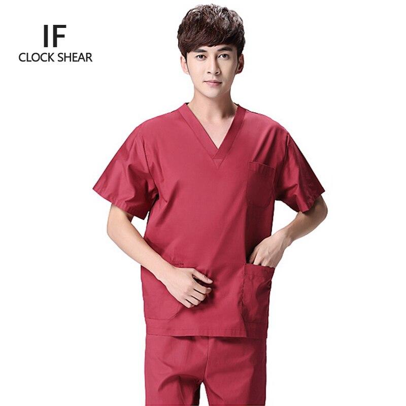 IF hot sale summer short-sleeved surgical gowns men dental beauty oral pet doctor male split suit