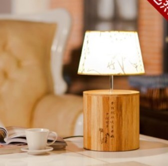 hot selling circle wood small table lamp bamboo energy saving lamp