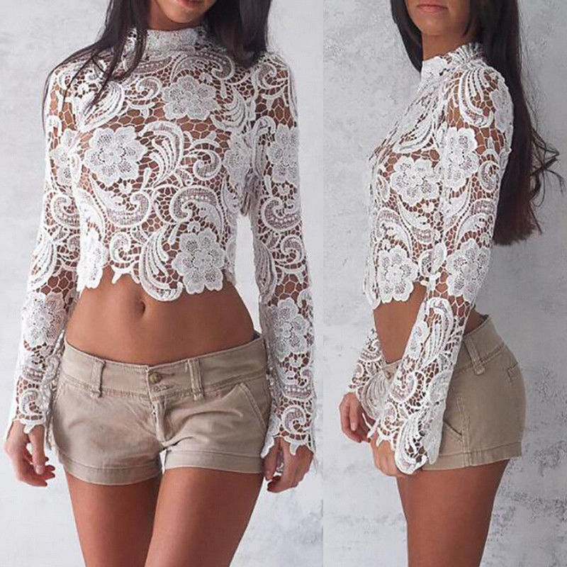 High Street Women Hollow Out Floral Lace Crochet Crop Top Long Sleeve Short Shirts Womens Blouses And Tops