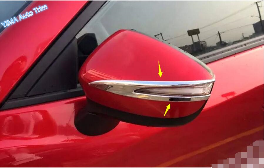 Lapetus <font><b>Accessories</b></font> For <font><b>Mazda</b></font> CX-5 <font><b>CX5</b></font> <font><b>2015</b></font> 2016 ABS Side Rearview Mirrors Strip Cover Trim / With Turn Light Hole Model image
