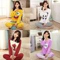 Mujeres Pijamas de ropa de 2016 Del Otoño Del Resorte Niñas Camisón de Dormir Trajes Pijama ropa de Dormir de Manga Larga Salón Homewear 20 Colores G0196