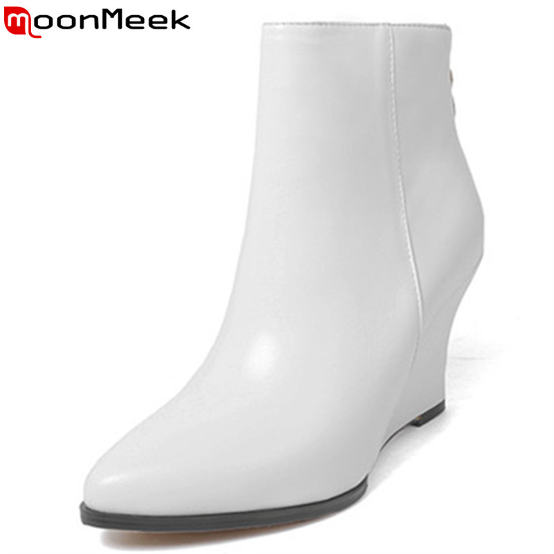 MoonMeek 2018 fashion autumn winter shoes woman pointed toe shoes woman wedges ladies boots women genuine leather ankle boots цена 2017