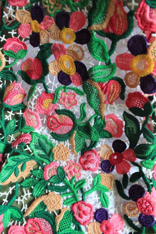 3 yards Multi farbige Venedig Spitze Stoff Antike Gehäkelte Blumen ...