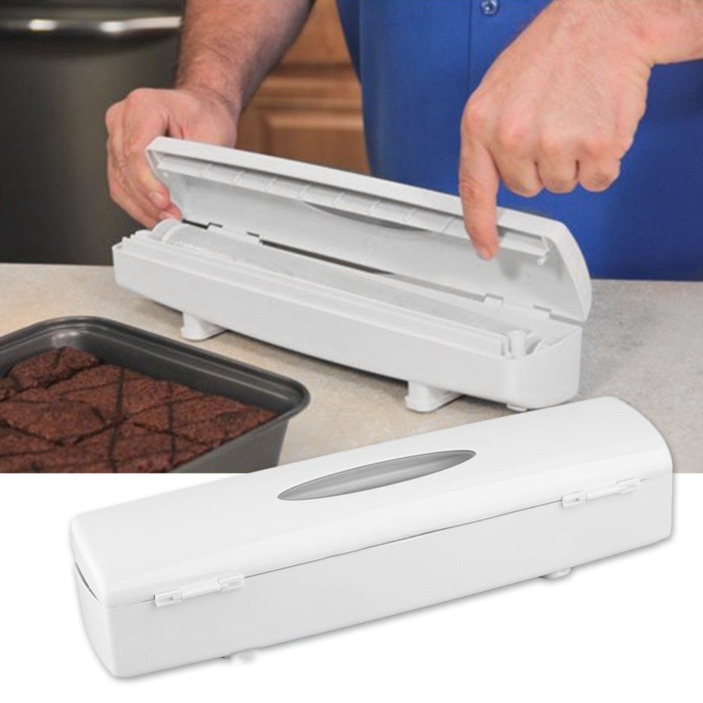 2017 New Food Plastic Cling Wrap Dispenser Preservative Film Cutter Kitchen Tool AccessoriesHot