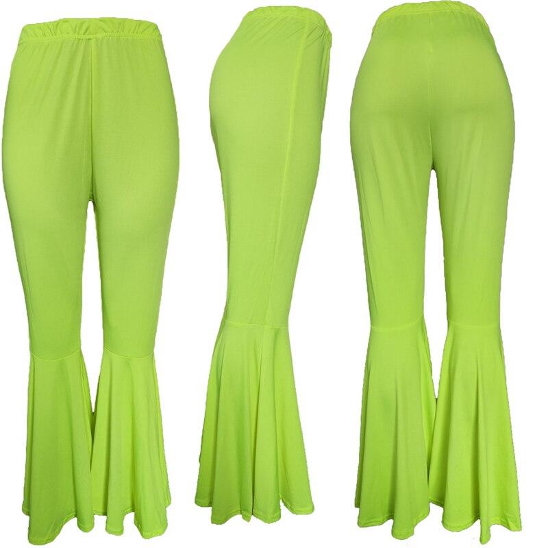 Adogirl S-3XL Women Fashion Flare Pants Fluorescent Color High Waist Boot Cut Trousers High Quality Female Casual Pants Pants & Capris Women Bottom ! Plus Size Women's Clothing & Accessories