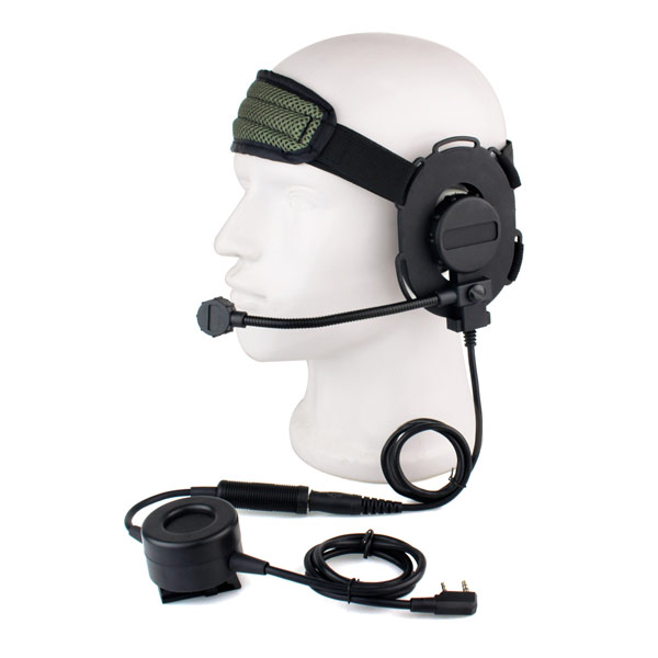 ФОТО New HD03 Z Tactical Bowman Elite II Headset With Waterproof PTT Right/Left Ear for Kenwood 2 Pin Two-way Radios Green C2052G