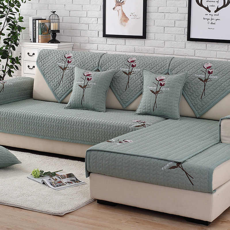 Solid Color Sofa Covers Couch Cover Embroidered Rose Washed Cotton Fabric Slipcover Armrest Towel Sofa Cushion For L Corner Sofa