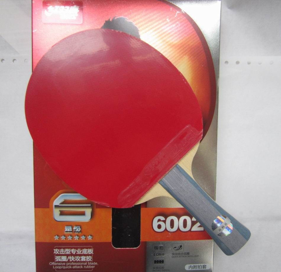 Original DHS 6002 (6002, 6 STAR)FL Long Handle  Table Tennis Racket With Case Racket Sports Indoor Sports