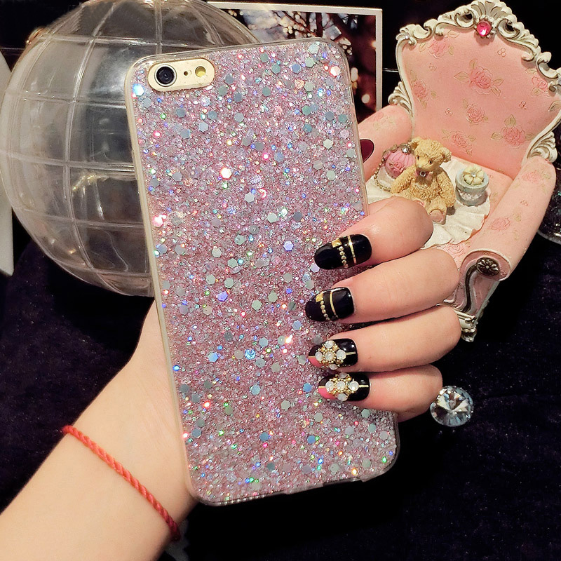 Kisstop Glitter Bling Full edge Protection Sequin Case For iPhone 8 7 X XS Cute Shining Phone Back Cover For iPhone 6 6s 7 Plus in Fitted Cases from Cellphones Telecommunications