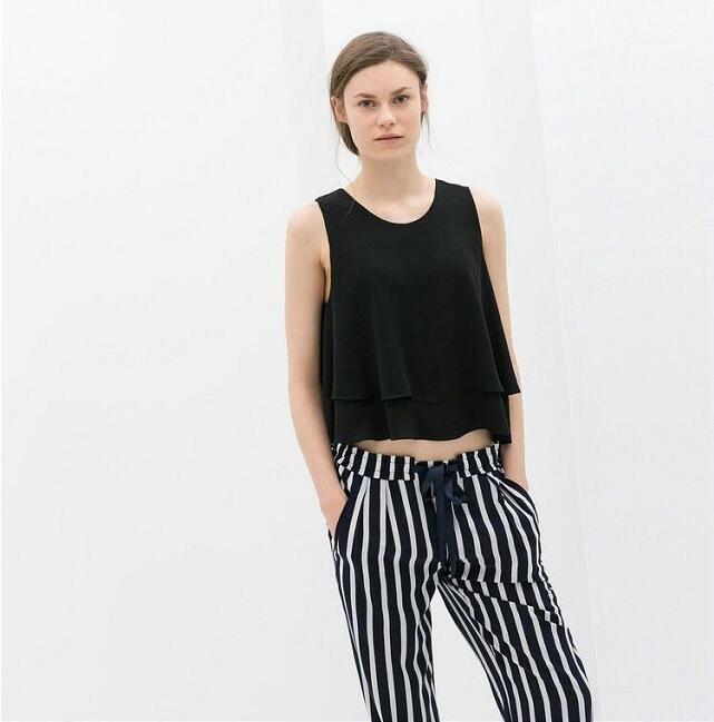 Tank Top Women Chiffon Blouses 2018 New Summer Sleeveless Shirt BlackLoose Female Top Vest Ladies Women Shirt *new*