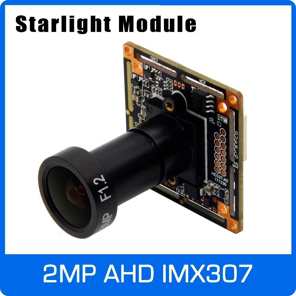 Starlight 1080 P AHD Cámara módulo con IMX307 y F1.2 4mm de la Lente de la UTC Coaxial de Control OSD de visión nocturna