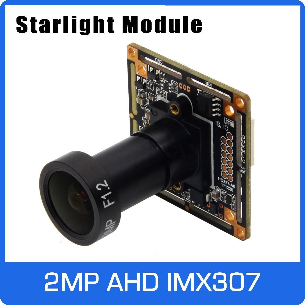 Starlight 1080P AHD Camera Module Board with IMX307 and F1.2 4mm Lens UTC Coaxial OSD Control Colorful Nightvision