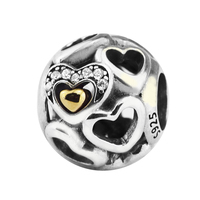 Fits for Pandora Charms Bracelets Heart of Romance Beads with Light Yellow Gold Color 925 Sterling Silver Jewelry Free Shipping