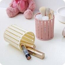 Творческий пластиковые ротанга Desktop корзина для хранения домашнего офиса стол карандашом Организатор туалетный столик Косметика для макияжа коробка для хранения