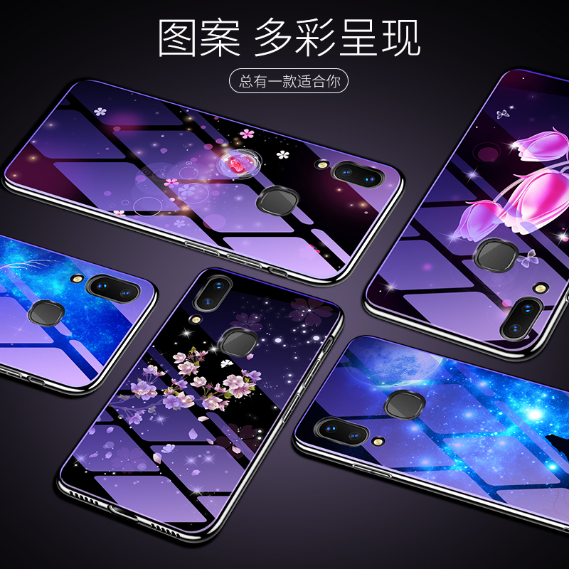 For Huawei Honor Play Case Tempered Glass Bumper Blue Ray Flower Deer Coque Back Cover for Huawei Honor Play Case fundas in Fitted Cases from Cellphones Telecommunications