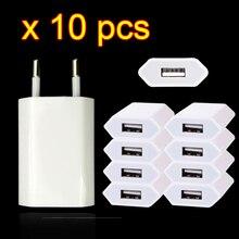 Caricatore di ricarica USB da parete da viaggio da 10 pezzi per Apple iPhone 7 6 6s 5 5s SE 5C 4 4s 3GS adattatore di alimentazione AC 8 Pin spina ue