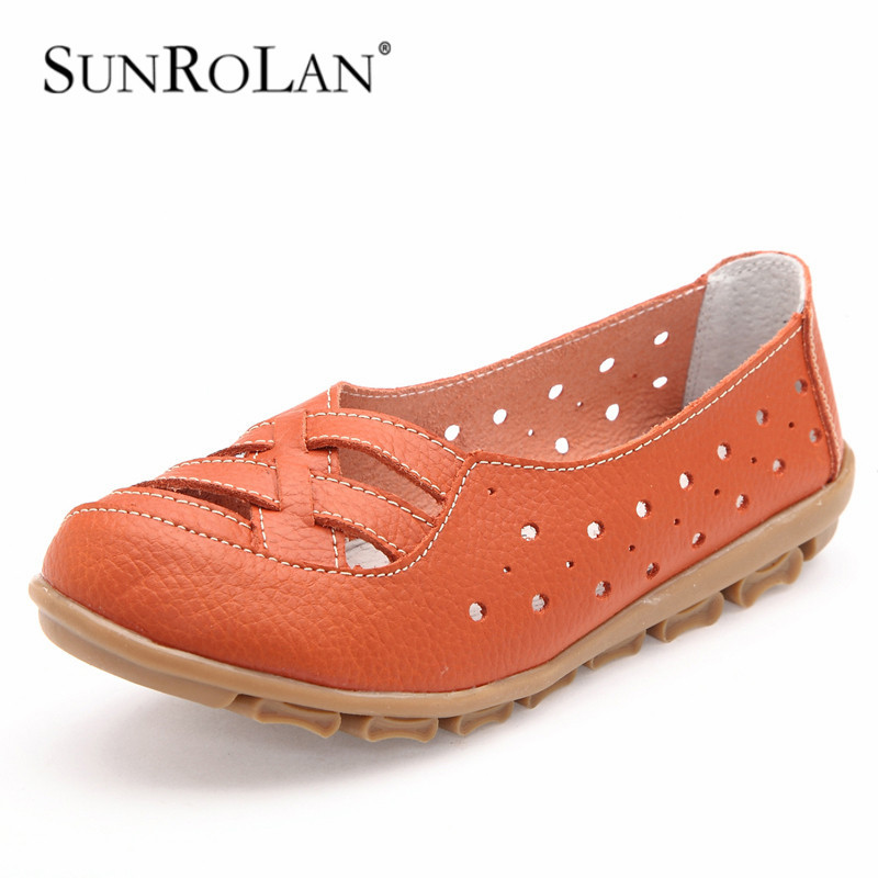 SUNROLAN2017 Women Loafers Lady Ballerina Flat Shoes Woman Summer Flats Hollow Out Comfortable Soft Genuine Leather Moccasin2063
