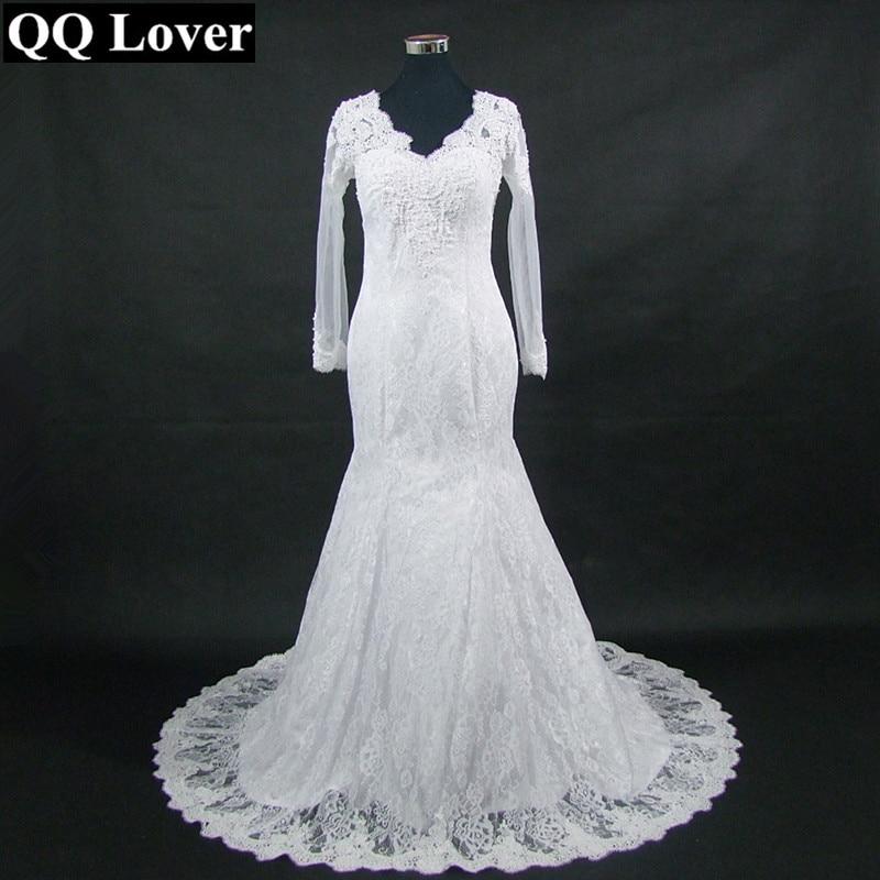 QQ Lover 2019 New Arrival V-neck Long Sleeves Lace Wedding Dress See Through Back Custom-made Vestido De Noiva